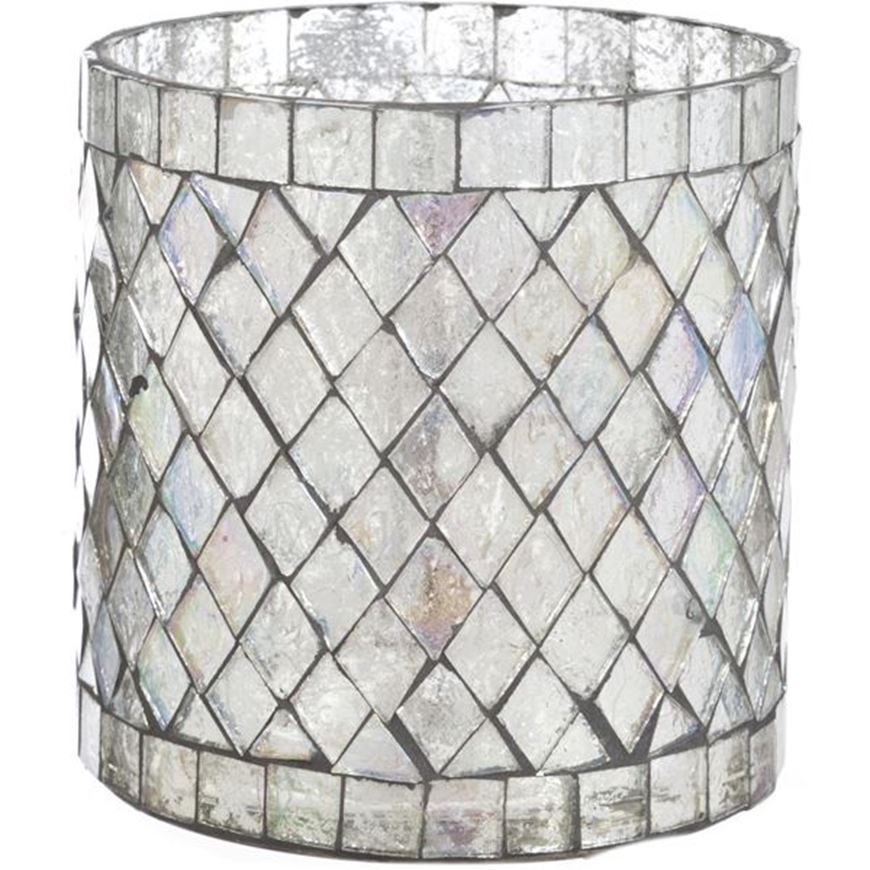 Picture of MOSAIC tea light holder h10cm silver