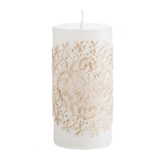 Picture of LACIE pillar candle 8x15 white/gold