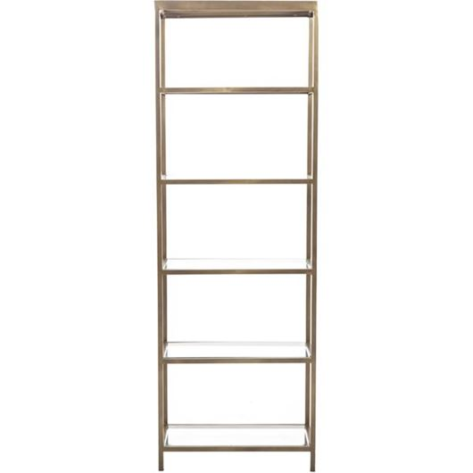 Picture of VEENAS bookcase 188x64 brass/clear