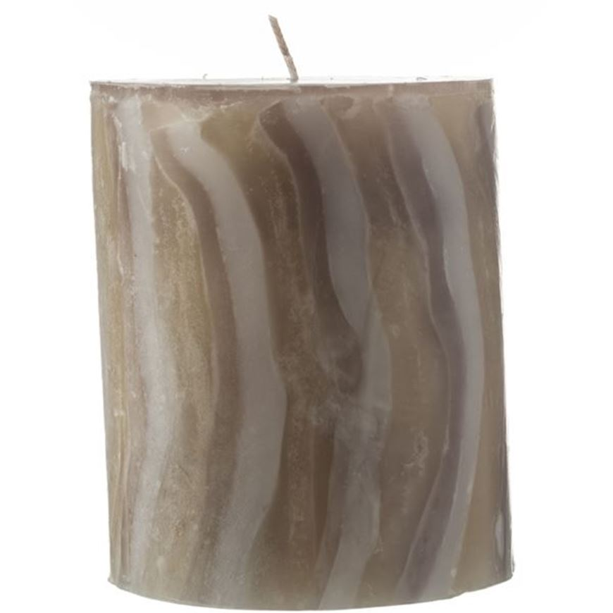 Picture of MARBLE pillar candle 10x12 grey