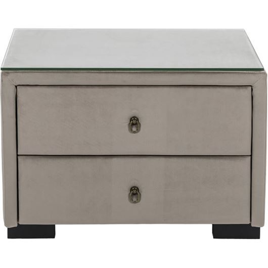 Picture of STEN bedside table microfibre taupe