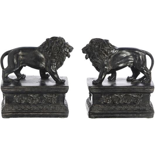 Picture of LION bookends h16cm set of 2 black