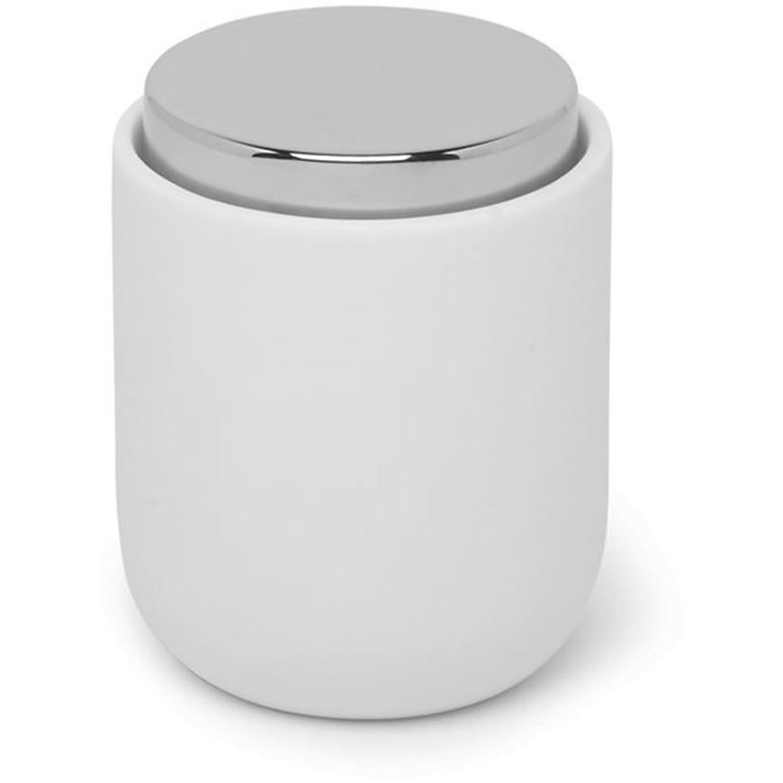 Picture of JUNIP canister with lid white/stainless steel