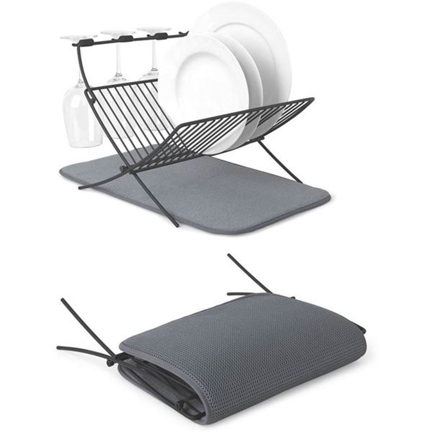 Picture of XDRY folding dish rack with mat dark grey