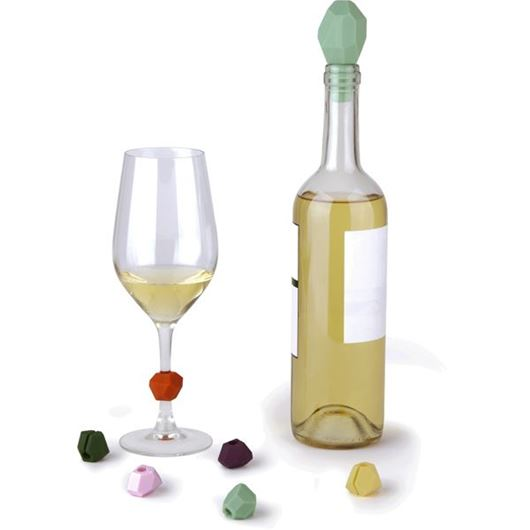 Picture of GEM wine topper and charms set of 7 multicolour
