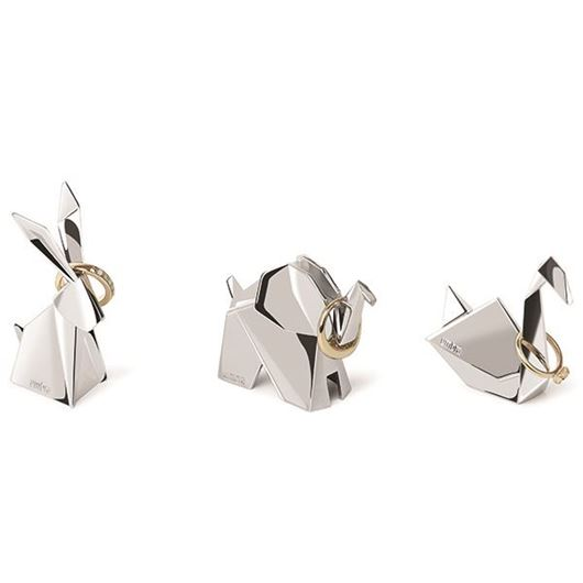 Picture of ORIGAMI ring holder set of 3 stainless steel