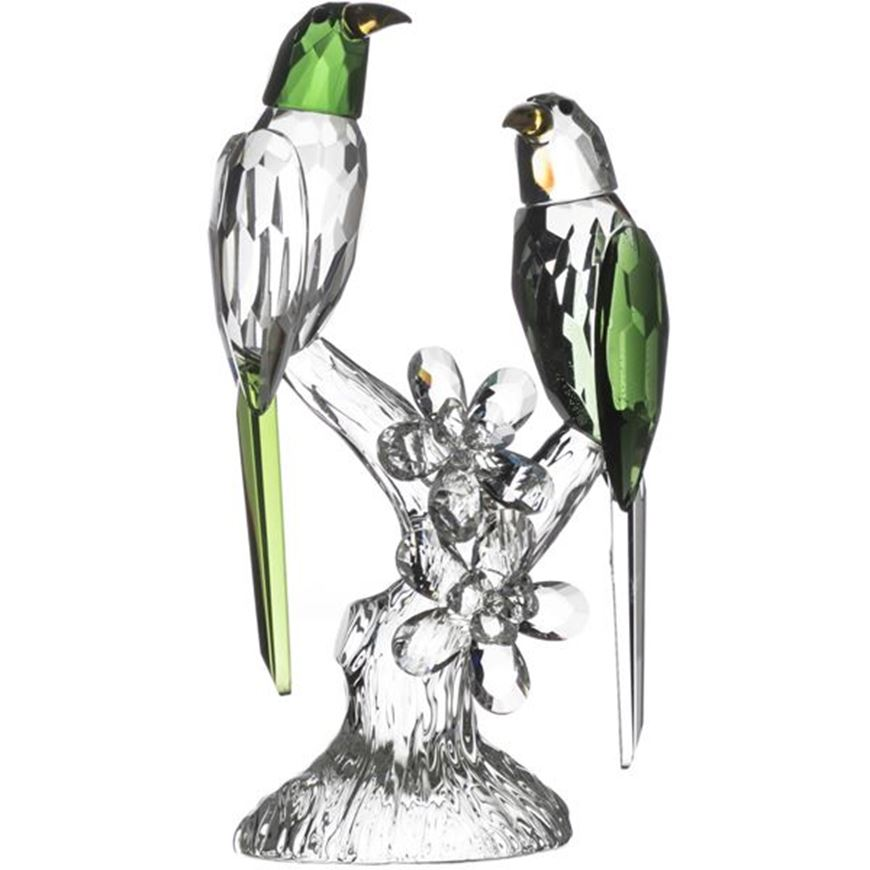 Picture of PARROTS decoration h23cm green/clear