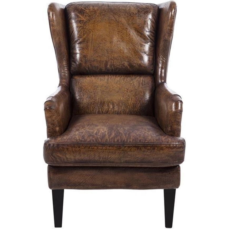 Picture of CAMLIN wing chair leather brown