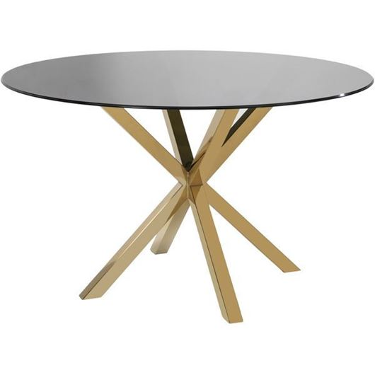 SHON dining table d130cm clear/gold