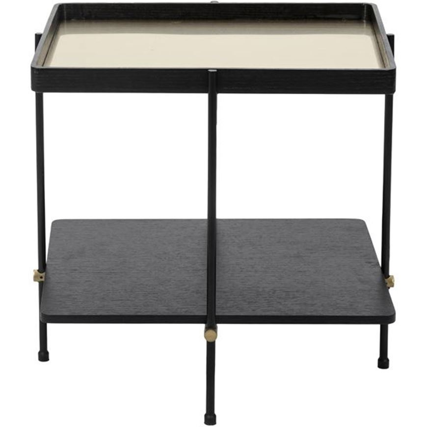 Picture of LINE side table with tray 60x50 black/gold
