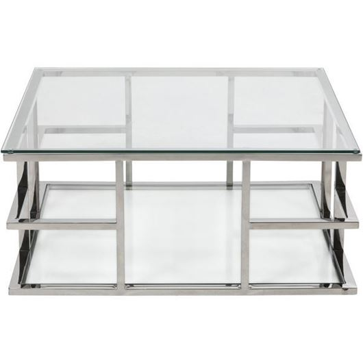 Picture of RABIL coffee table 90x90 clear/stainless steel