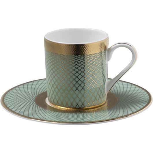 Picture of TIFFANY espresso cup and saucer blue/gold