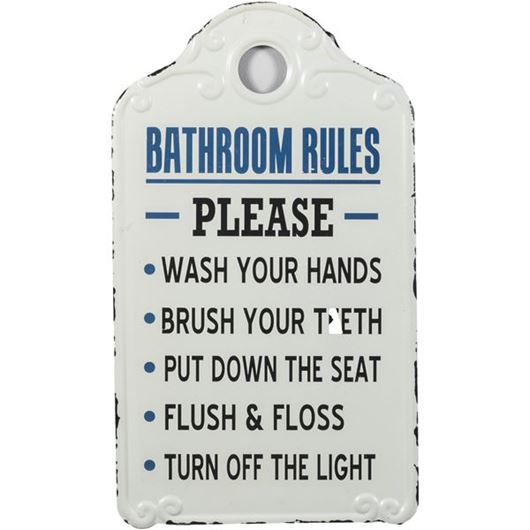 Picture of BATHROOM RULES wall decoration 26x46 white