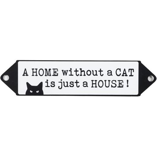 Picture of WITHOUT A CAT wall decoration 53x12 black and white