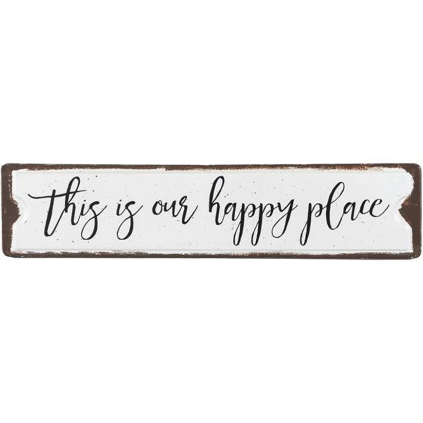 Picture of HAPPY PLACE wall decoration 51x11 black and white