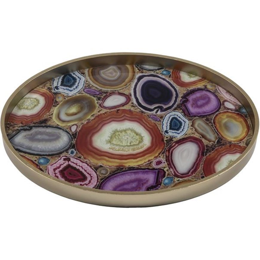 Picture of LIVONIA tray 61x46 multicolour/gold