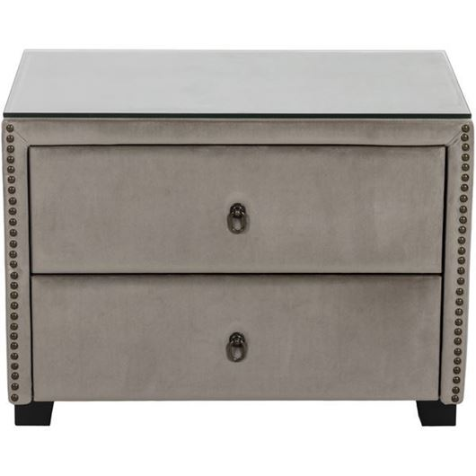 Picture of REST bedside table microfibre taupe