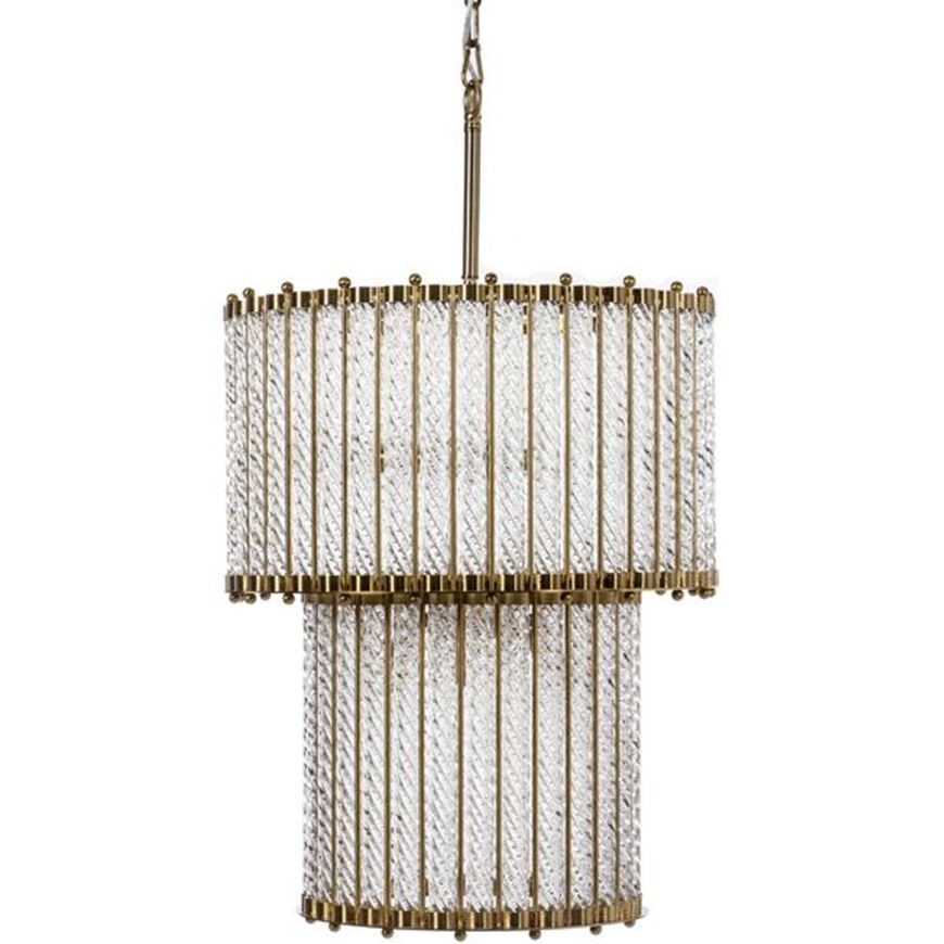 Picture of TUBE pendant lamp d50x164cm clear/brass