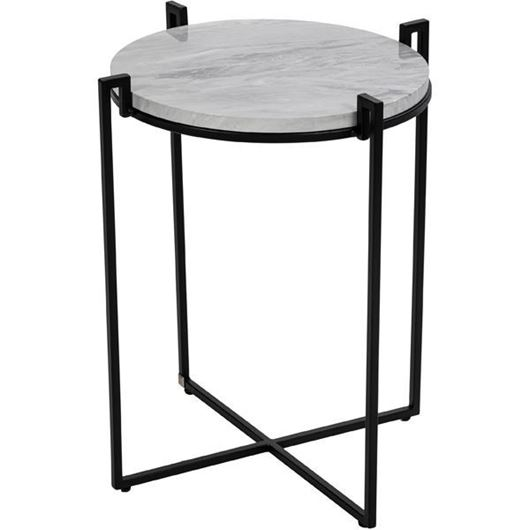 Picture of CROWNY side table d49cm white/black