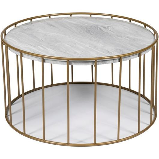 Picture of ENZO coffee table d80cm white/gold
