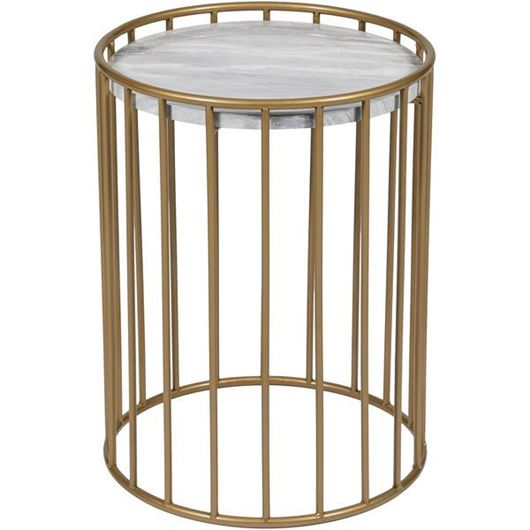 Picture of ENZO side table d40cm white/gold