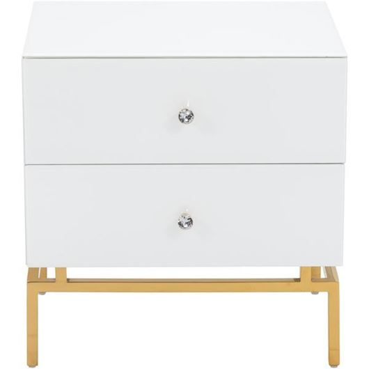 Picture of THEA bedside table white/gold