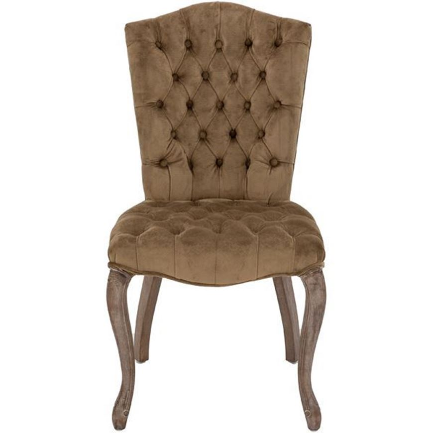 RAFEL dining chair microfibre light brown/grey
