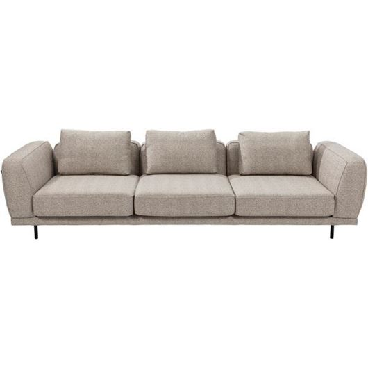 Picture of AMAYA sofa 4 beige with leather arm decoration brown