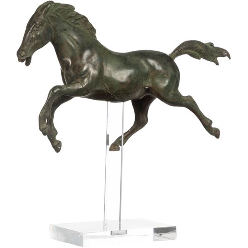 Picture of GALLOPING horse decoration h33cm green