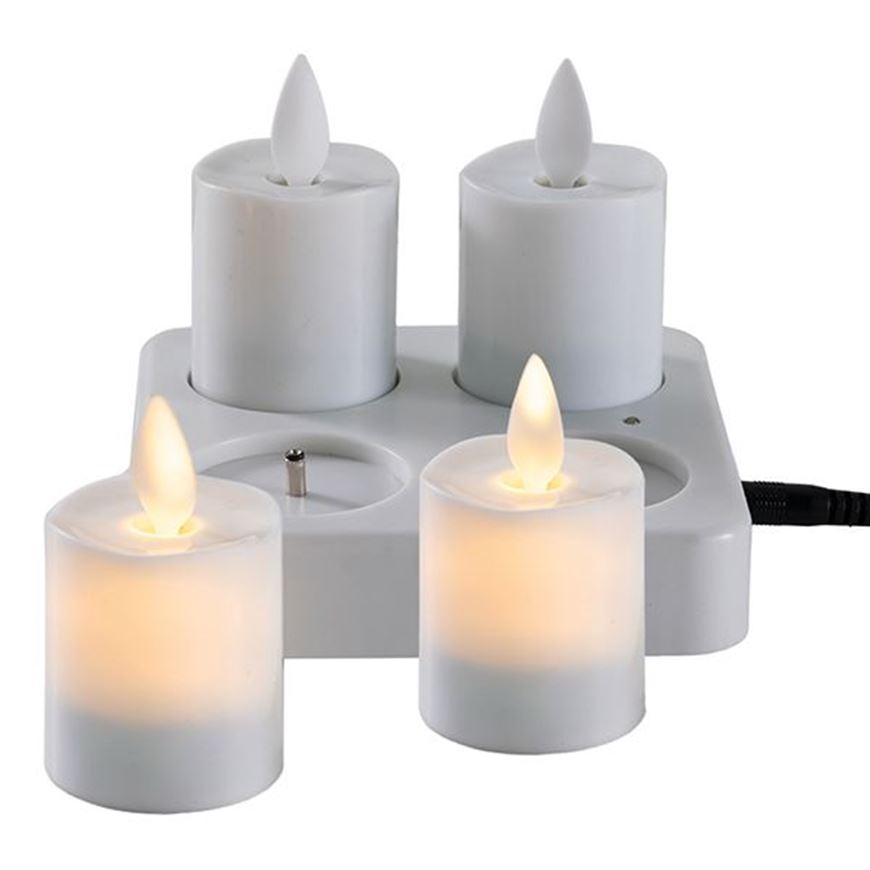 Picture of MOOD flameless votive with charger set of 4 white