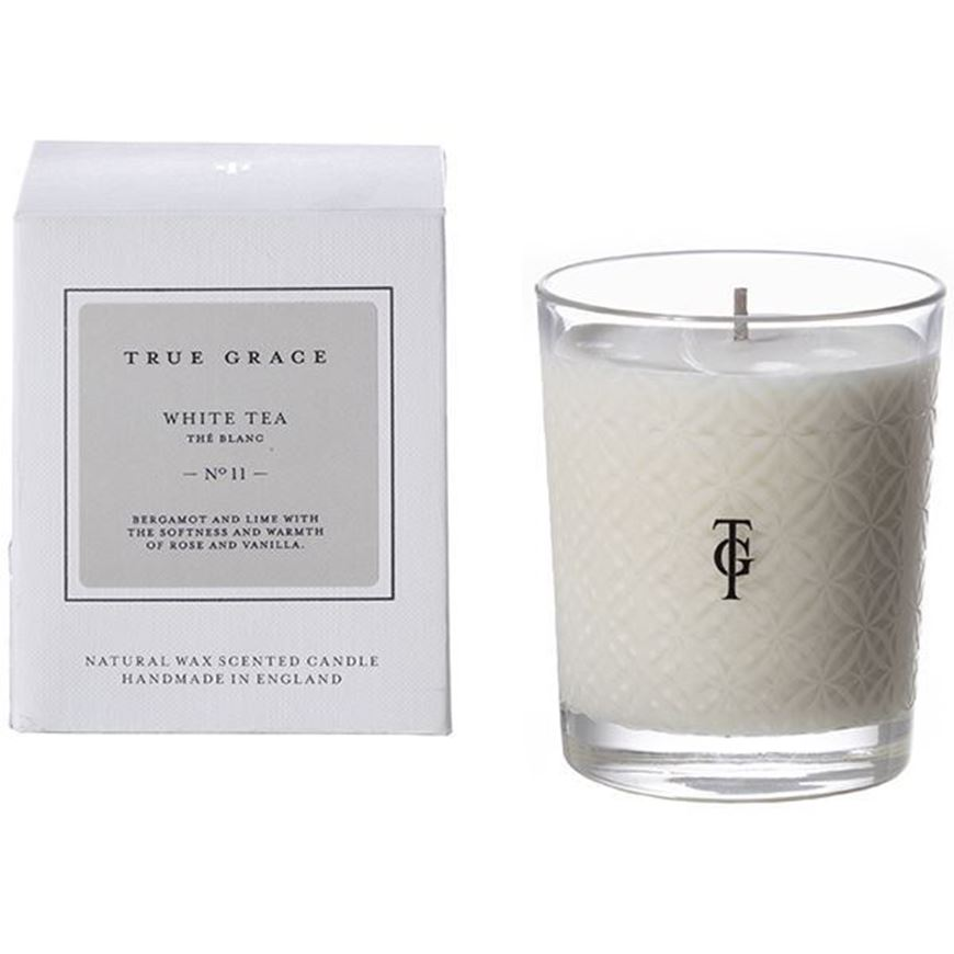 WHITE TEA candle small clear