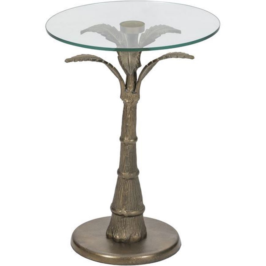 PALM side table d40cm clear/brass