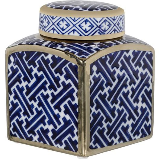 Picture of AVERY jar with lid h12cm blue