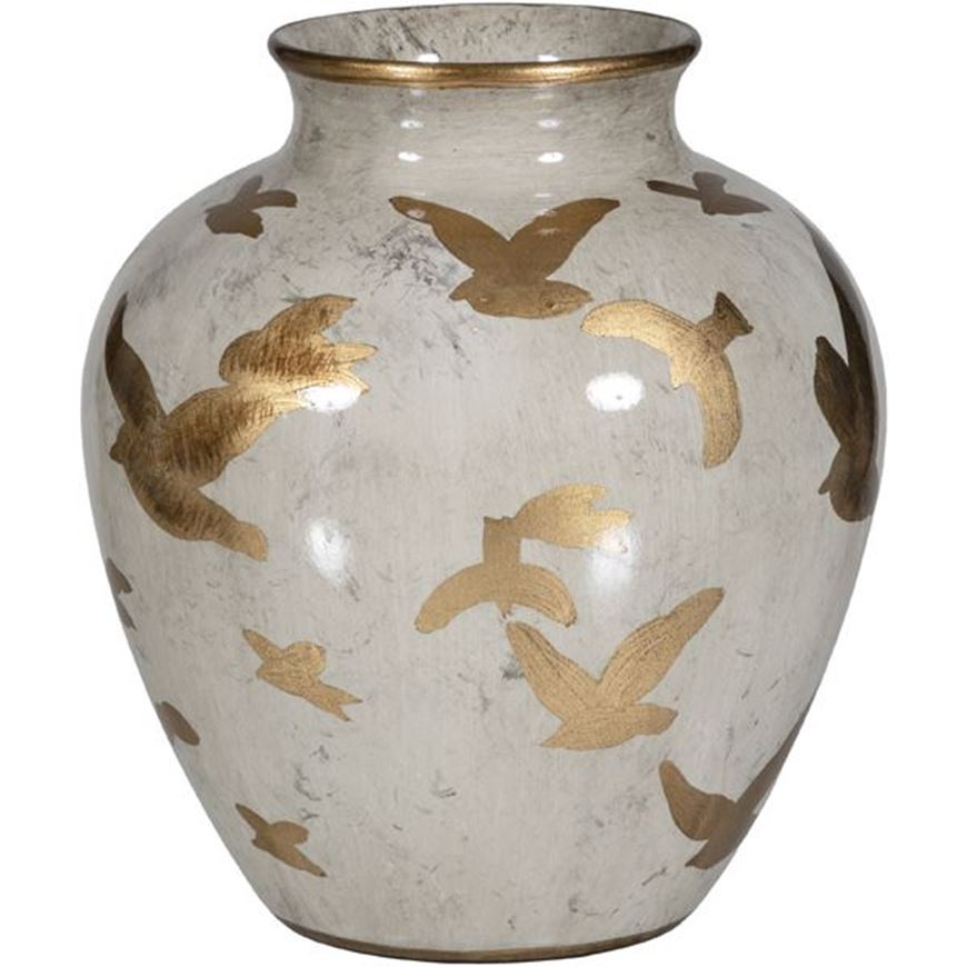 FEATHER vase h26cm brown/gold