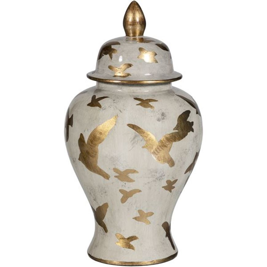 Picture of FEATHER jar with lid h40cm brown/gold