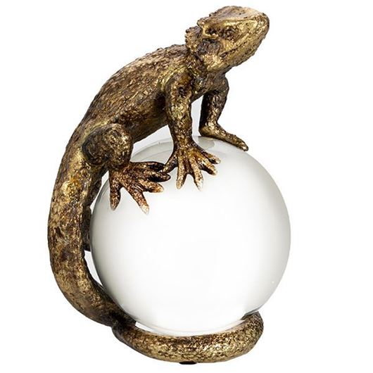 Picture of LIZARD ball decoration h20cm gold