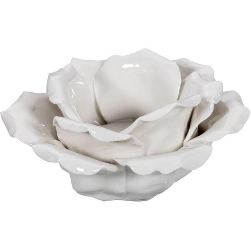 Picture of ROSE tea light holder h7cm white