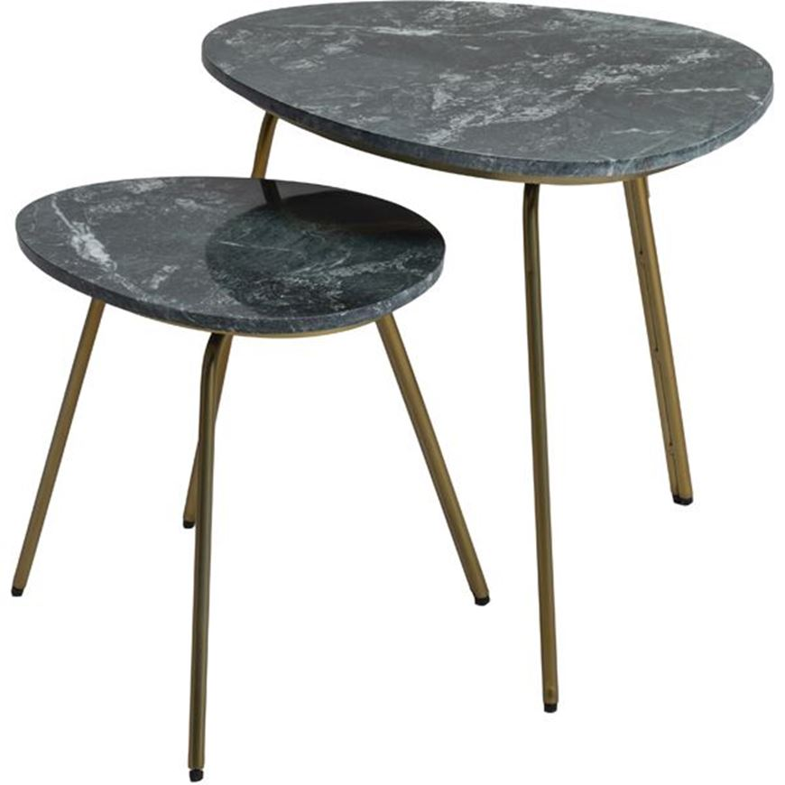 Picture of ABIR nesting table set of 2 green/brass