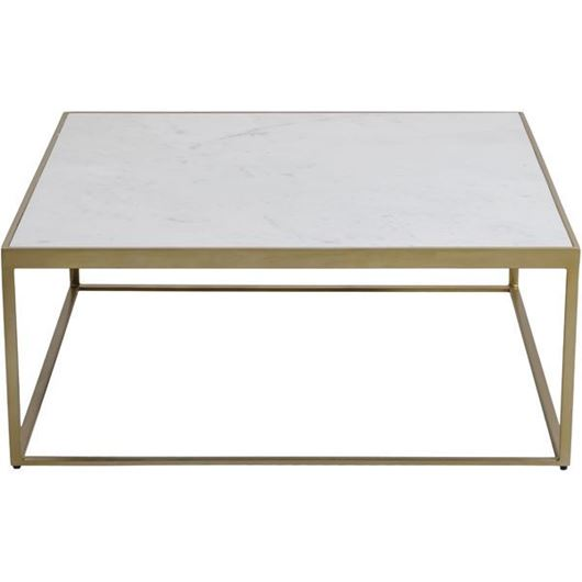 Picture of ZAYN coffee table 92x92 white/brass