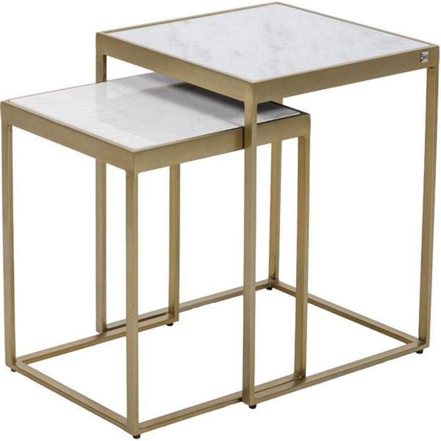 Picture of ZAYN nesting table set of 2 white/brass