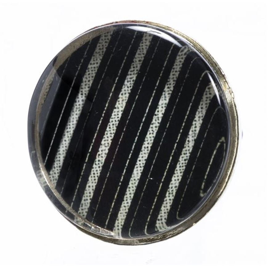 Picture of EVIE stripes knob d8cm black and white