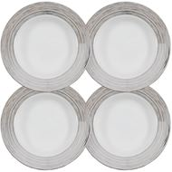 LINES soup plate d23cm set of 4 white/silver