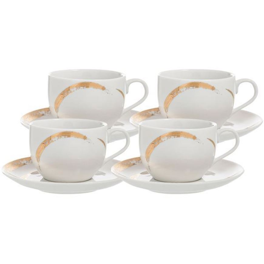 ODESSA tea cup and saucer set of 4 white/gold