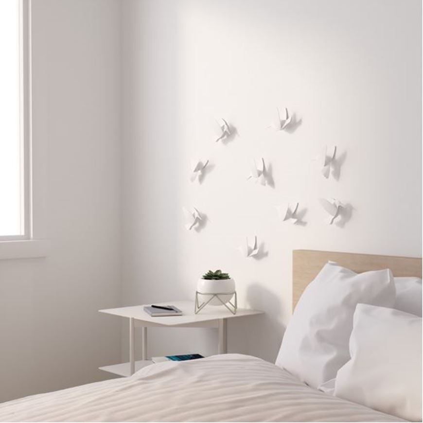 Picture of HUMMINGBIRD wall decoration set of 9 white