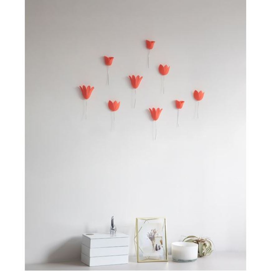 Picture of BLOOMER wall decoration set of 9 orange