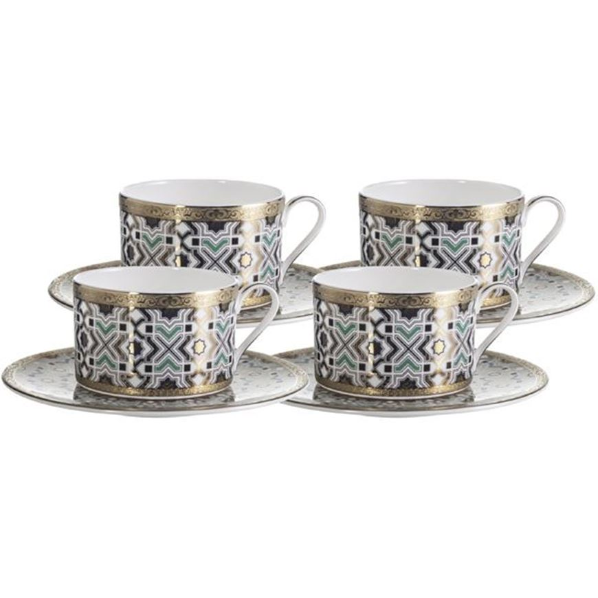 KENRIC tea cup and saucer set of 4 blue/gold