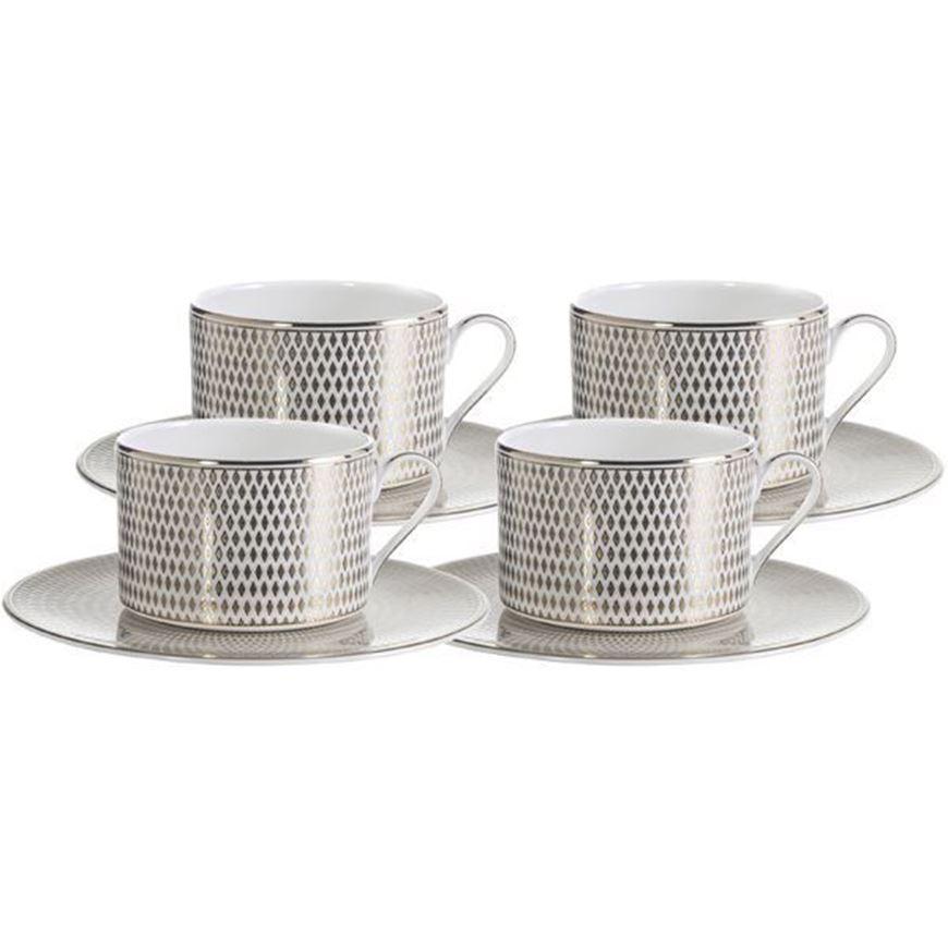 ORLIE tea cup & saucer set of 4 gold/white