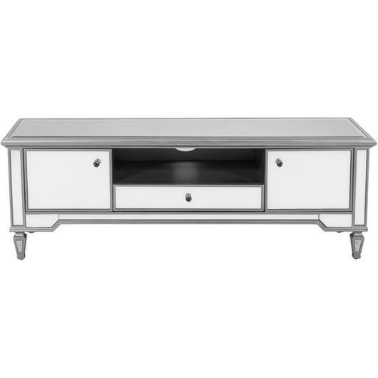 VANE entertainment unit 55x160 clear/silver