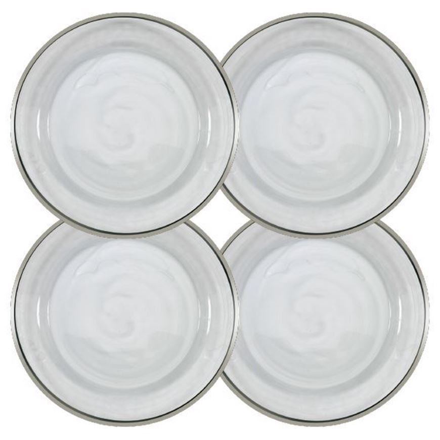 IMANA charger plate d31cm set of 4 white/silver