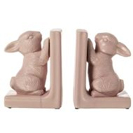 BUNNY bookends h19cm set of 2 pink